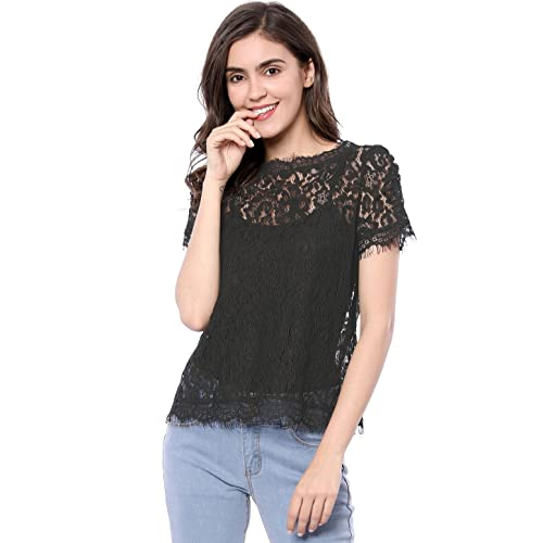 68f58158 Allegra K Women's Scalloped Trim See Through Semi Sheer Floral Lace Top