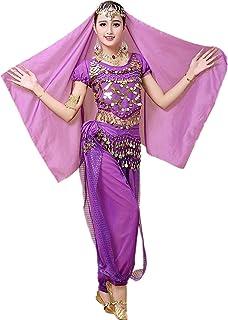 コスプレ ハロウィン アラジン衣装 パンツタイプ ベリーダンス 衣装4点セット コスチューム ジャスミン アラジン風仮装 パープル
