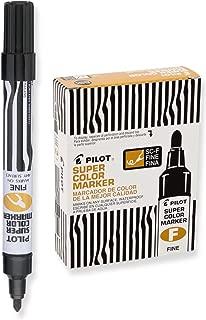 PILOT Super Color Refillable Permanent Markers, Black Ink, Fine Bullet Point, Dozen Box (44600)