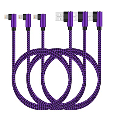 iPhone Charger Cable,3Pack 10FT Long Nylon Braided 90 Degree Lightning Gaming Cable USB Charging&Syncing Cord Compatible for iPhone Xs/Max/XR/X/8/8Plus/7/7Plus/6S/6S Plus/SE/iPad Purple