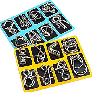 MumooBear 16 Pieces IQ Test Mind Game Toys IQ Toys Brain Teaser Metal Wire Puzzles Magic Trick Toy Metal IQ Puzzle for Kid...