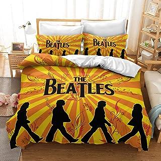 Bedding Duvet Cover King Size Hypoallergenic 3D the Beatles Decorative Soft Microfiber Bedding Set, 1 Duvet Cover and 2 Pi...