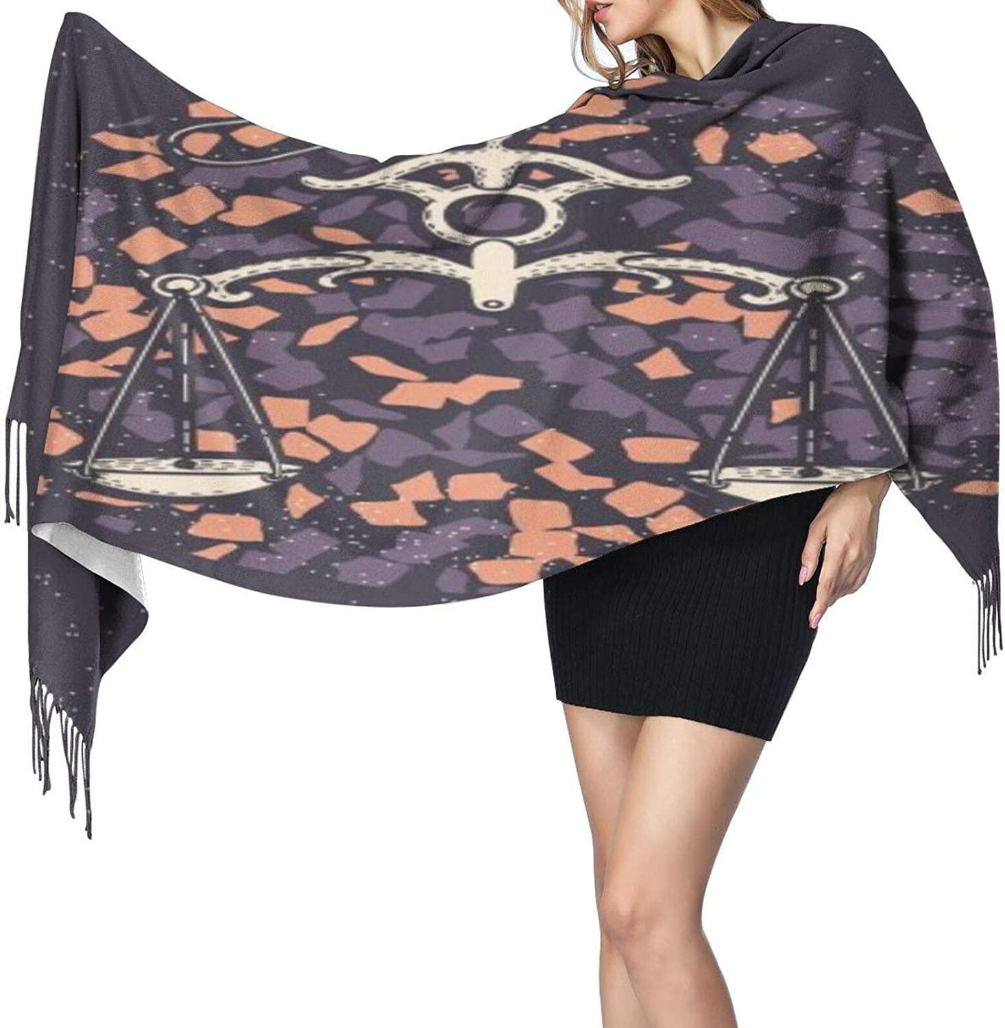 Cashmere fringed scarf Astrological Skull winter extra large scarf