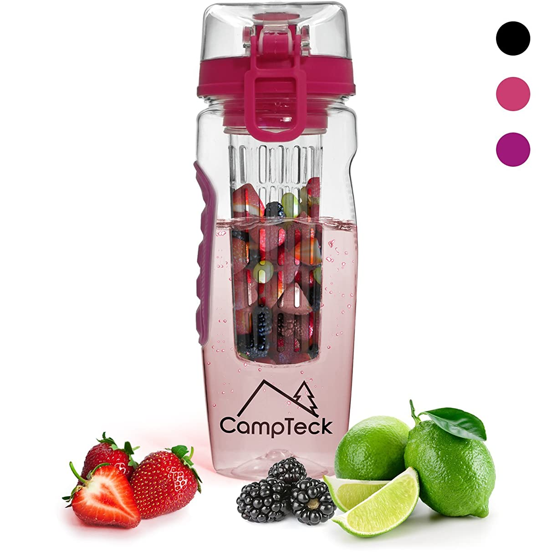 CampTeck 1 Litre 1000ml Fruit Infuser Water Bottle (BPA Free Tritan Plastic) with Leak Proof Lid + Lock & Carry Handle