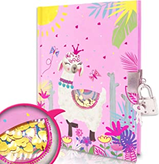 EverCreatives Kids Diary with Lock for Girls, Shakable Sequin Llama Journal with Lock for Kids Size 7.1 x 5.3 Inches 160 P...