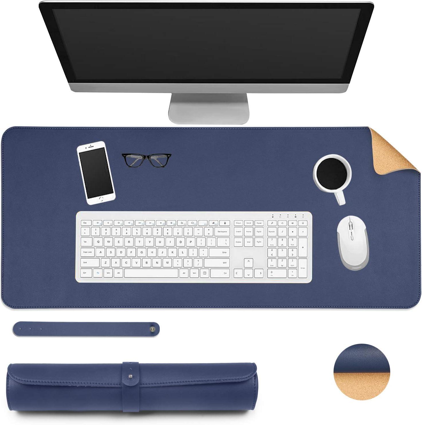 Ewolee Desk Pad 40cm Natural Cork PU Leather Desk Protector Mat Non-Slip Waterproof Laptop Keyboard Mouse Mat for Office Home School Office Desk Mat 80 Black + Cork