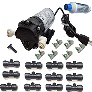 mistcooling Mid Pressure Misting Patio System 160 System-160 PSI-Mid-Pressure-110vac-12 Nozzles Kit-W/Out Enclosure, Black Color Tubing - UV Treated Nylon