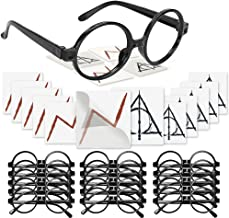 Harry Potter Glasses with Round Frame No Lenses and Lightning Bolt Tattoos Deathly Hallows Tattoos for Kids Wizard, Each o...