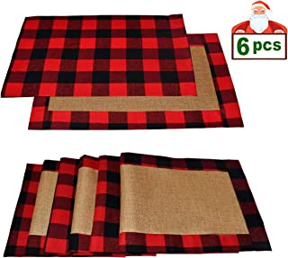 Senneny Set of 6 Christmas Placemats Buffalo Check Placemats Red Black Plaid Reversible Burlap & Cotton Placemats for Christmas Holiday Table Home Decoration