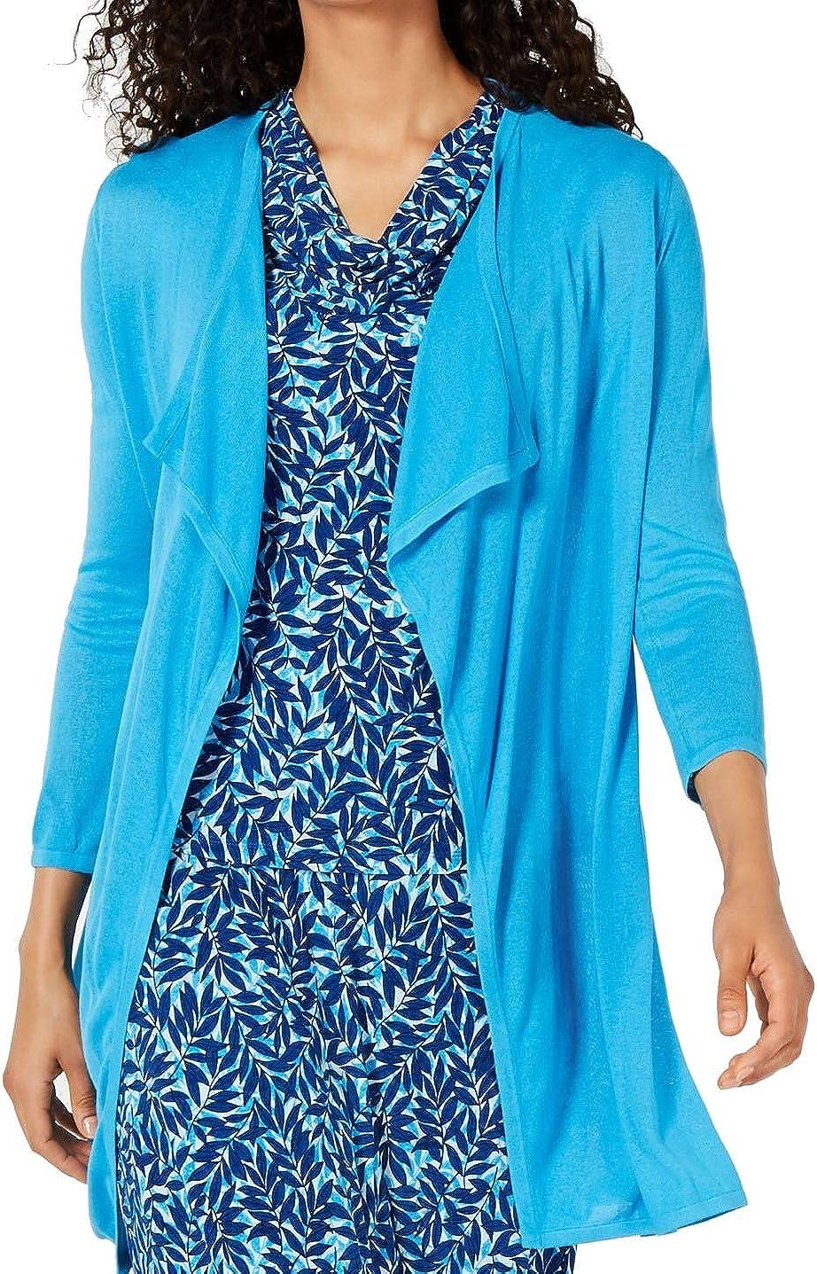 Kasper Women's 3/4 Sleeve Long Cardigan with Side Slits