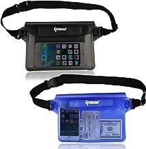 IPOW [2 unids] Bolsa riñonera Impermeable iPhone, teléfono móvil, cámara, iPad, Dinero en Efectivo, Documentos, protección contra el Agua