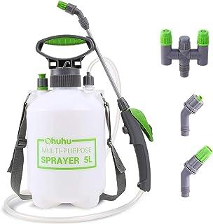 Ohuhu Pump Sprayer, 1.3 Gallon/5L Multi-Purpose Lawn & Garden Pressure Sprayer with 2 Different Nozzles, Pressure Relief Valve & Adjustable Shoulder Strap for Fertilizers, Mild, Solvent-Free Solutions