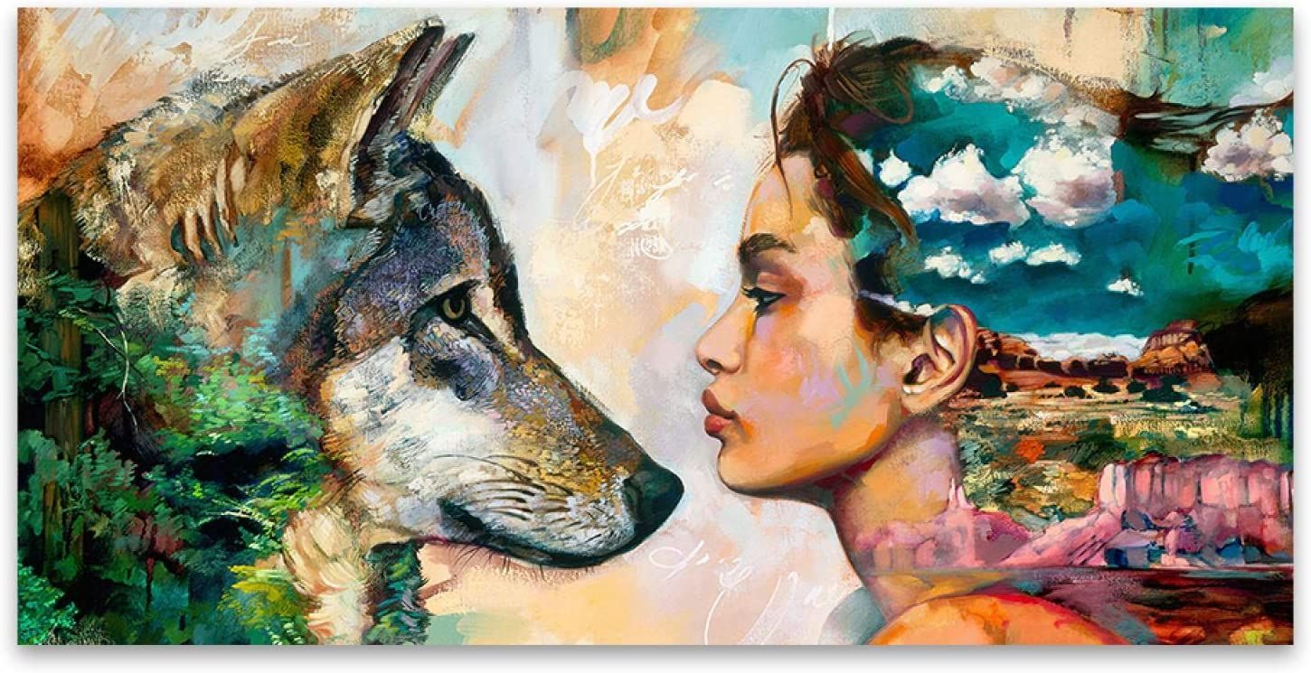 KMMK Canvas Jacksonville Mall Paintings Max 84% OFF Wolf and Girl Figure Animal Wall Pictu Art