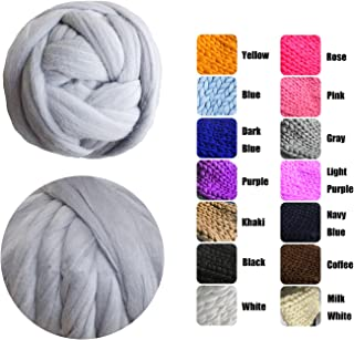 EASTSURE Chunky Roving Merino Wool Yarn Knit Yarn DIY Blanket Giant Roving for Arm Knitting,Grey,0.55LB/0.25KG