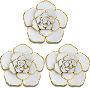 3 Pieces 8 Inch Large Wall Metal Flowers Multiple Layer Home Decoration for Indoor Outdoor Home Garden Office Living Room Garden Porch Patio, White