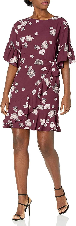 Amazon Brand - Lark  Ro Women's Half Sleeve Faux Wrap Dress wit