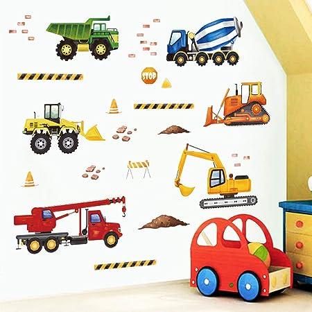 decalmile Stickers Muraux Construction Autocollant Décoratifs Camions Véhicules Décoration Murale Chambre Enfants Chambre Bébé Garçon Salle de Jeux