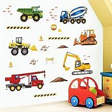 decalmile Bouw Muurstickers Vrachtwagens Voertuigen Muurtattoo Kinderen Slaapkamer Jongen Kamer Speel Kamer Wanddecoratie