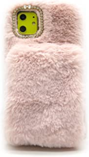 iPhone 11 Pro Max Furry Case with Grip Phone Holder Pink, iPhone 11 Pro Max Fluffy Case Warm Hands, Women Fashion Faux Fur Case for iPhone 11 Pro Max 6.5 inch