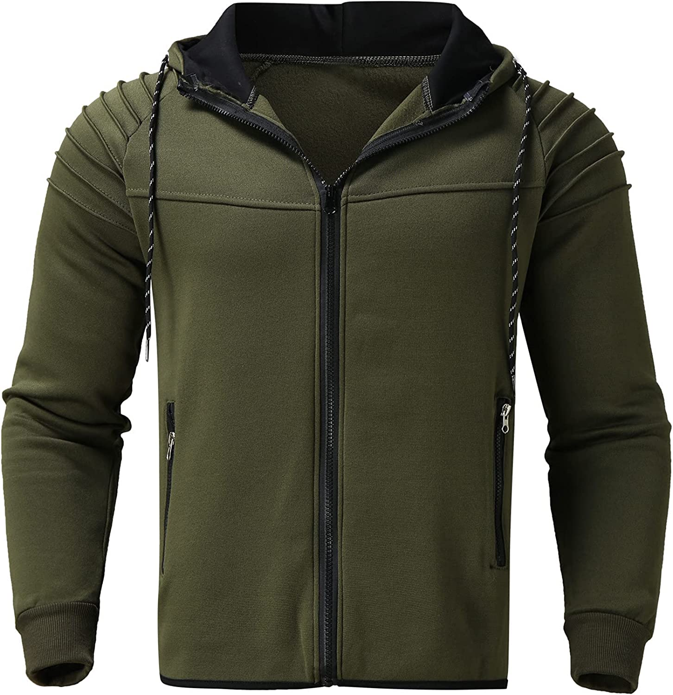 Men's Long Sleeve Hoodies Slim Fit Sweatshirt Zipper up Hooded Cardigan Jacket Lightweight Top with Pocket