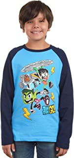 Teen Titans Go Cartoon Boys Long Sleeve Costume Raglan Printed T-Shirt