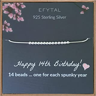 EFYTAL 14th Birthday Gifts for Girls, 925 Sterling Silver Bracelet, 14 Beads for 14 Year Old Girl, Jewelry Gift Idea