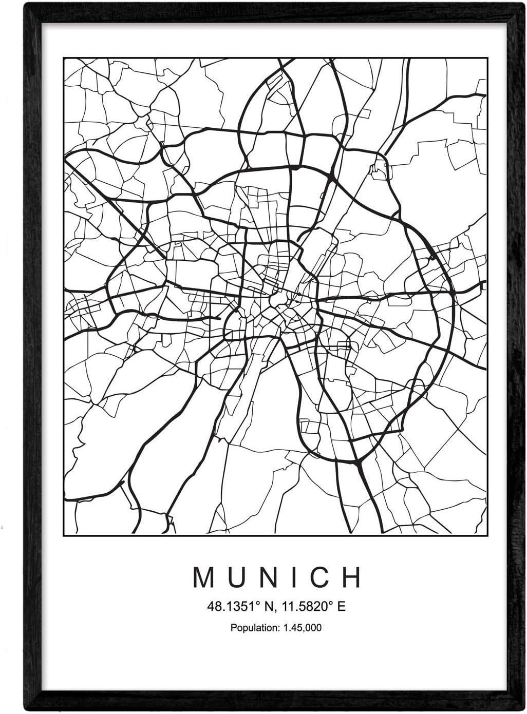 Amazon.com Print City map Munich Scandinavian Style in Black and ...