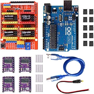 DAOKI CNC Shield V3.0 Expansion Board + Arduino UNO R3 Board+DRV8255 Stepper Motor Driver with Heatsink CNC Shield V3 Engraving Machine 3D Printer for Arduino Kits with USB Cable
