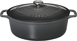 Chasseur Hunter 4735 Oval casserole-35 cm Enameled cast Iron, 8.5 liters, Caviar Interior Black