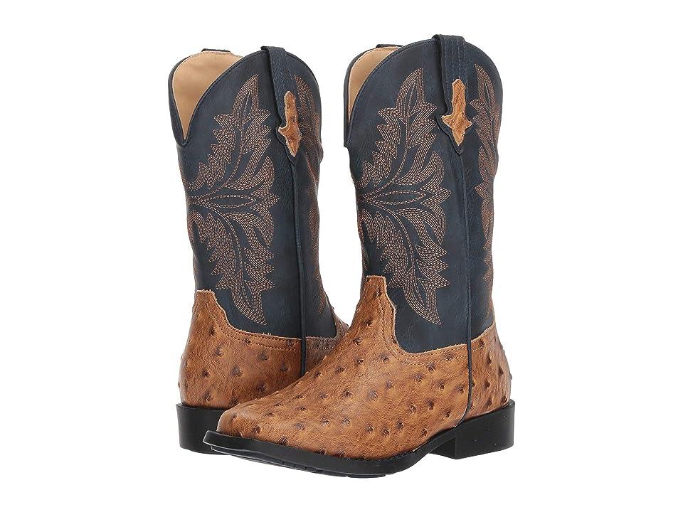 Roper Kids Cowboy Cool (Big Kid) (Tan Faux Ostrich Vamp/Navy Shaft) Cowboy Boots