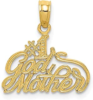 14k Yellow Gold #1 Godmother Pendant Charm Necklace Special Person God Fine Jewelry Gifts For Women For Her