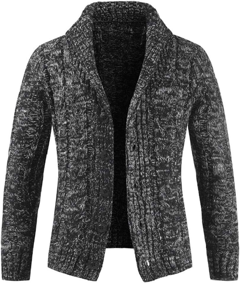 Hzikk Turn-Down Collar Men Cardigan Sweater Solid Long Sleeve Thick Wool Sweater,Darkgrey,M