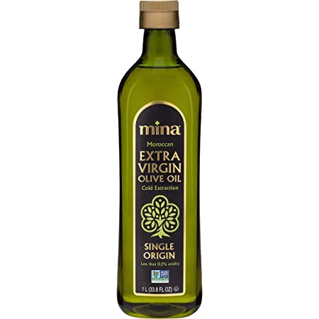Mina Extra Virgin Olive Oil, Single Origin, Cold Extracted, Family Harvested, Healthy Moroccan Olive Oil High in Polyphenols – 33.8 Fl Oz (1Liter)