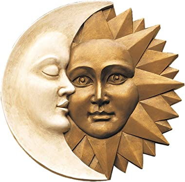 Design Toscano NG32758 Celestial Harmony Sun and Moon Outdoor Wall Sculpture, 15 Inch, Faux Ivory and Gold