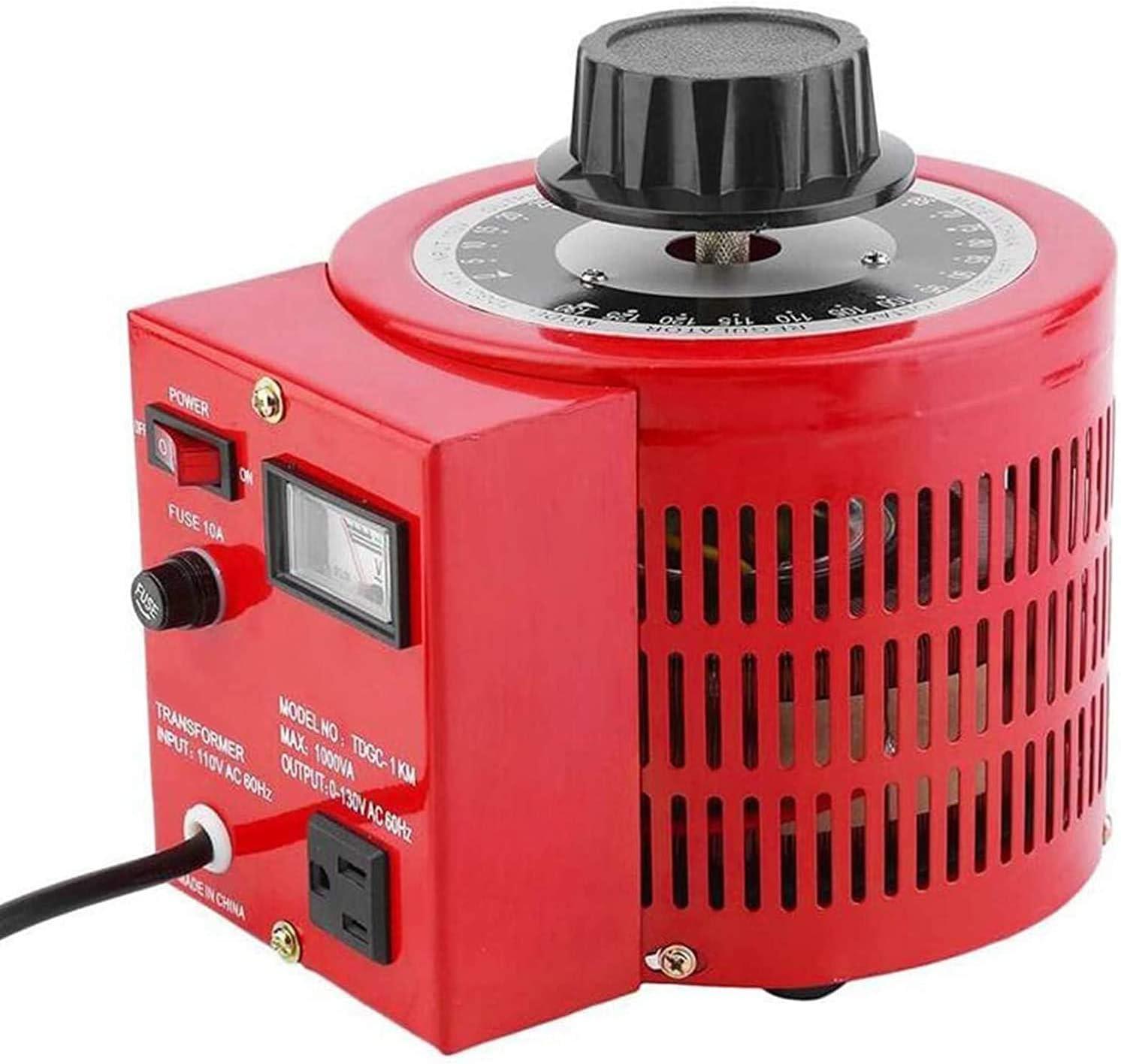 uyoyous 1000W Variable Transformer 0-130V Output ac Variable Voltage Converter Transformer 10Amp ac Variable Voltage autotransformer Regulator for Industries Equipment Appliances