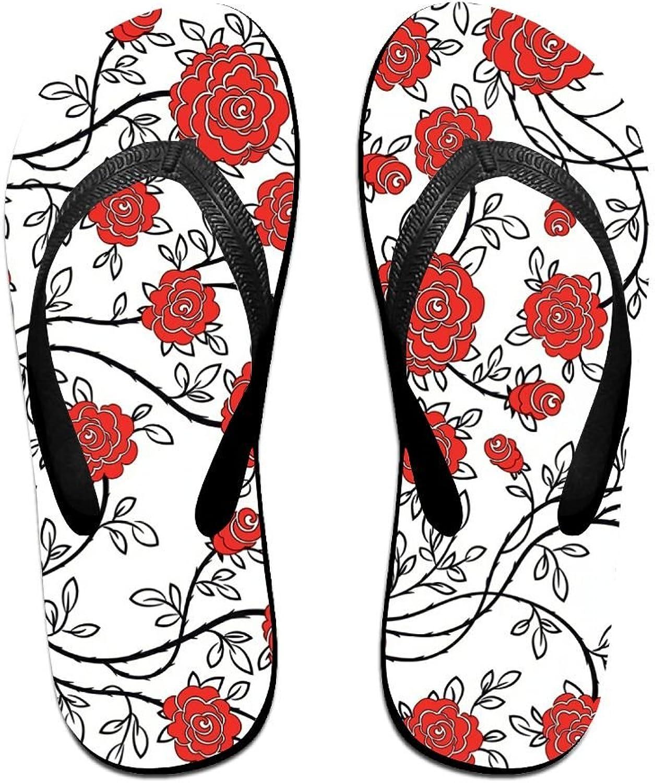 Unisex V Flip Flops Red Flowers Personalized Summer Slipper