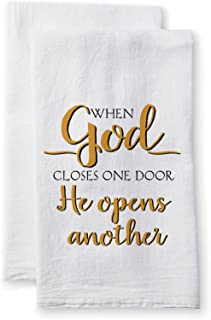 Sullivans Uplifting Linens Towels When God Closes One Door, 28 x 28 Inches, White (ULTL100) 2-Pack