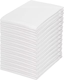 COTTON CRAFT 24 Pack Cocktail Napkins 12x12 White -100% Cotton -Tailored with Mitered Corners and a Generous Hem