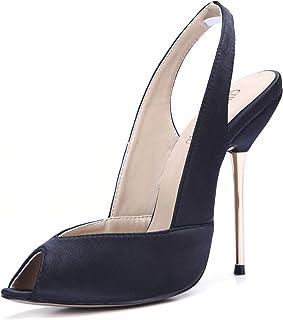 [CHMILE CHAU] Women Bridal Pumps Sexy Stiletto Iron Heels Peep Toe Sling Back Ladies Shoes