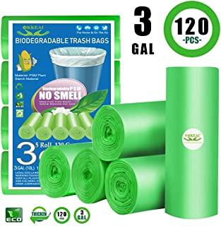 3 Gallon Biodegradable Trash Bags,120 Counts Small Garbage Bags Leak Proof Compostable Bags Wastebasket Liners Bags for Bathroom Kitchen Bedroom Living Room Office,Green