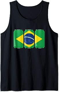 Patriotic Beer Cans Brazil w/ Brazilian Flag Tank Top