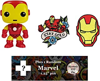 Spacepositive Marvel Heroes Bundle - Funko POP! Figure, Patches, and Pin (Iron Man)