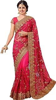 VintFlea Indian Women's Party Wear Net Saree with Blouse Piece Pink