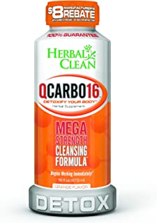 Herbal Clean QCarbo16 Orange, 16 Fluid Ounces, Detoxify Your Body, Mega Strength Cleansing Formula