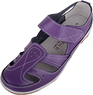 ABSOLUTE FOOTWEAR Womens Casual Leather Summer/Holiday Shoes with Ripper Strap Fastening