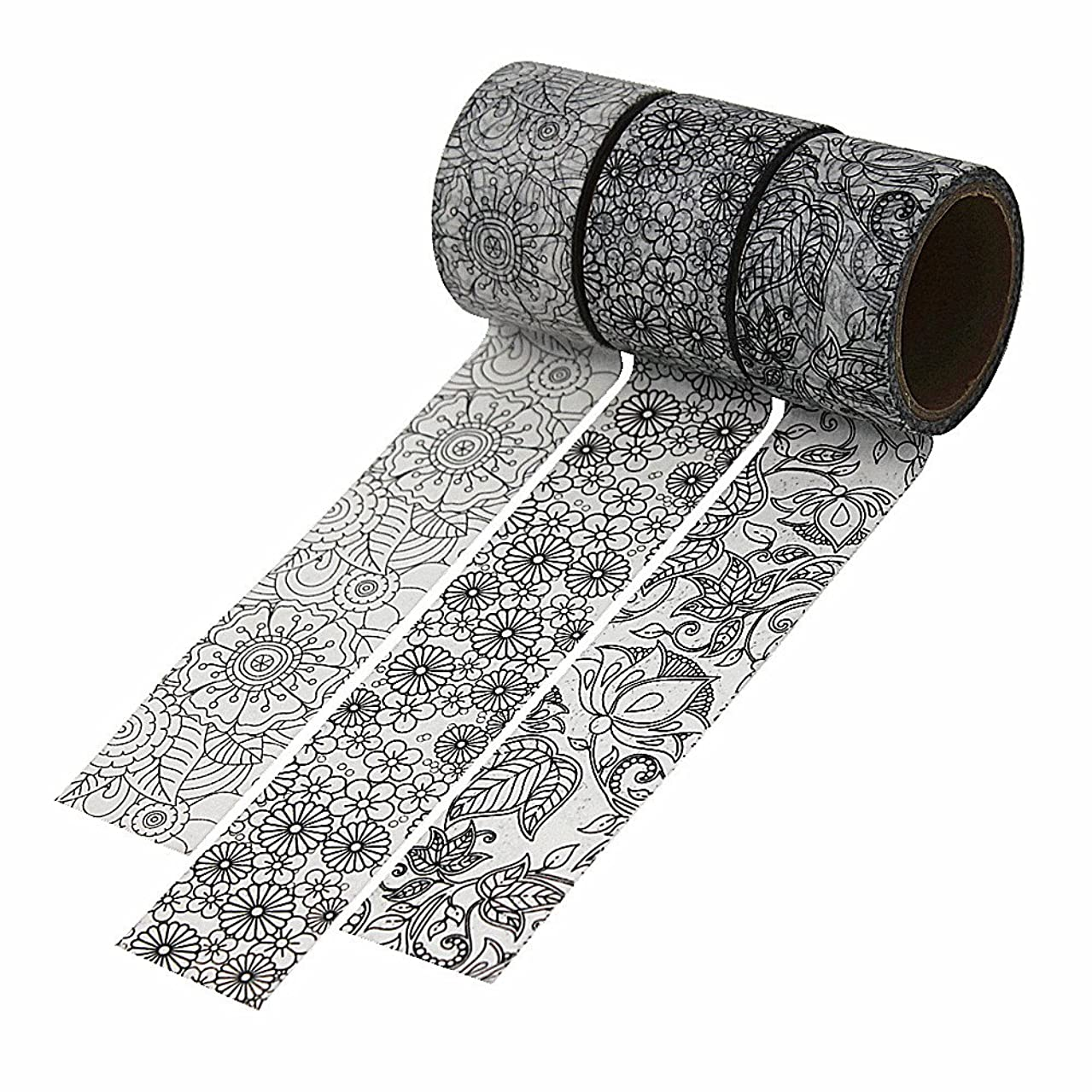 3 Rolls Black White Washi Tape, 30mm Wide Decorative Masking Japanese Paper Tapes Set for Scrapbooking, Room Decorative, Gift Wrapping and Party Supplies - Gray Flower Leaves Plants