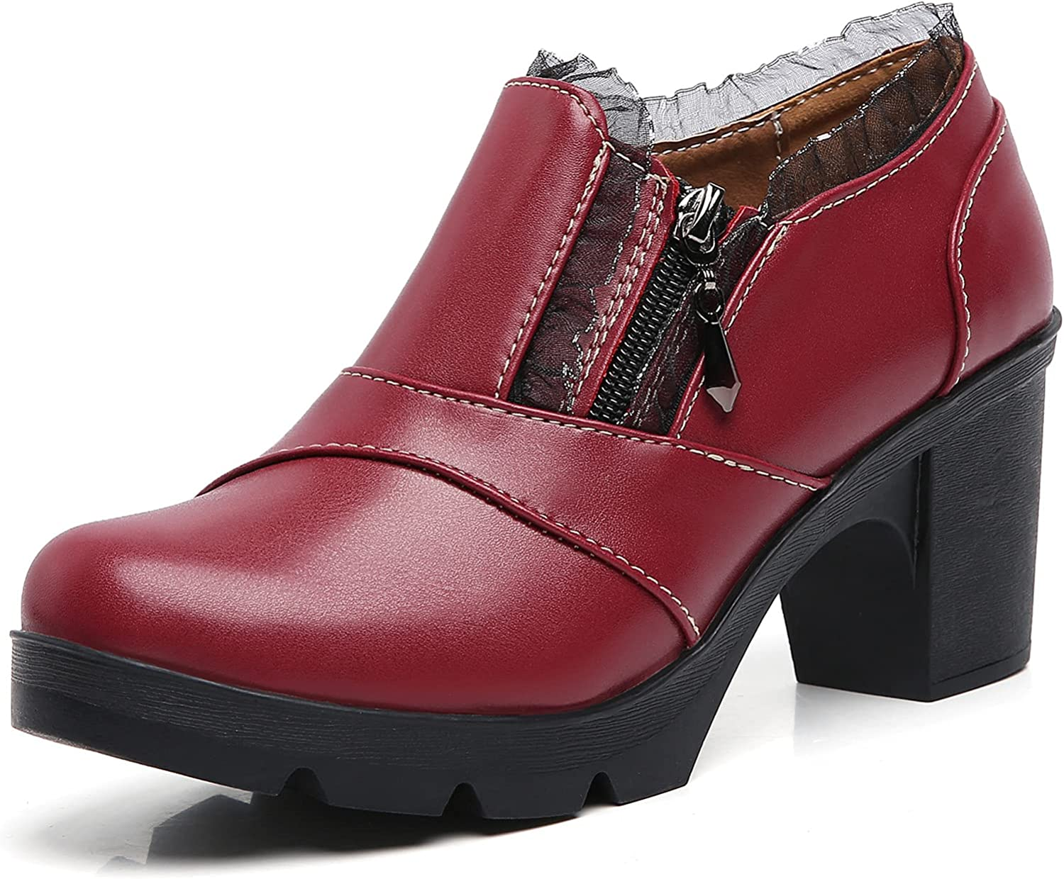 Limited Special Price DADAWEN Popular popular Women's Casual Zipper Lace Square Toe Platform Mid-Heel