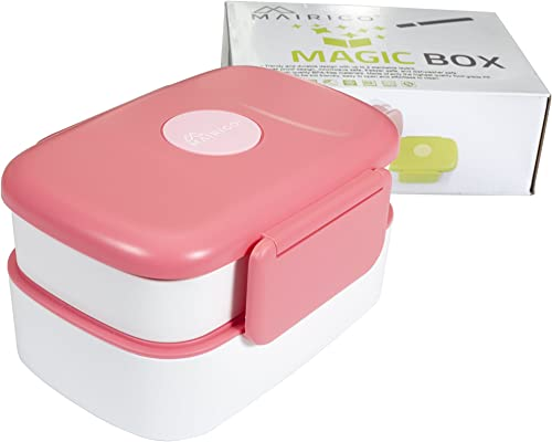 new arrival MAIRICO online Premium Stackable Bento Lunch Box (Pink) for Adults and Kids - Beautiful, 2 Stackable Layers, BPA free, Leak-proof, outlet sale Microwave, Freezer and Dishwasher Safe sale