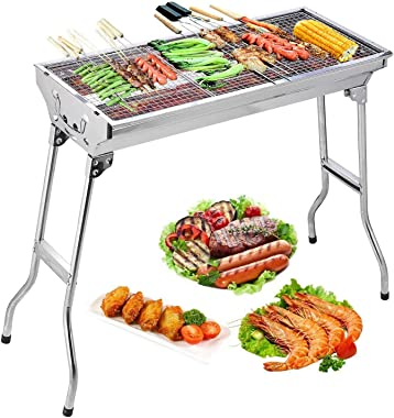 Barbecue Charcoal Grill Stainless Steel Folding Portable BBQ Tool Kits for Outdoor Cooking Camping Hiking Picnics Tailgating