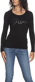 Guess T-Shirt Donna Girocollo Logo Strass Nero E22GU08 W1YI90J1311